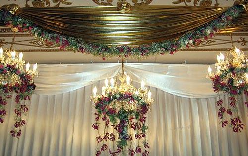 Украшение банкетного зала на свадьбе